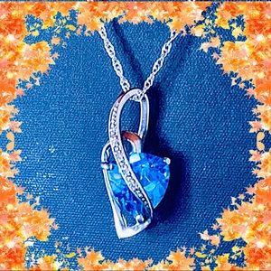 Zales Blue Swiss Topaz and Diamond Necklace